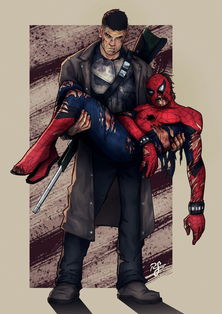 Civil war comic fan art Punisher rescues spiderman