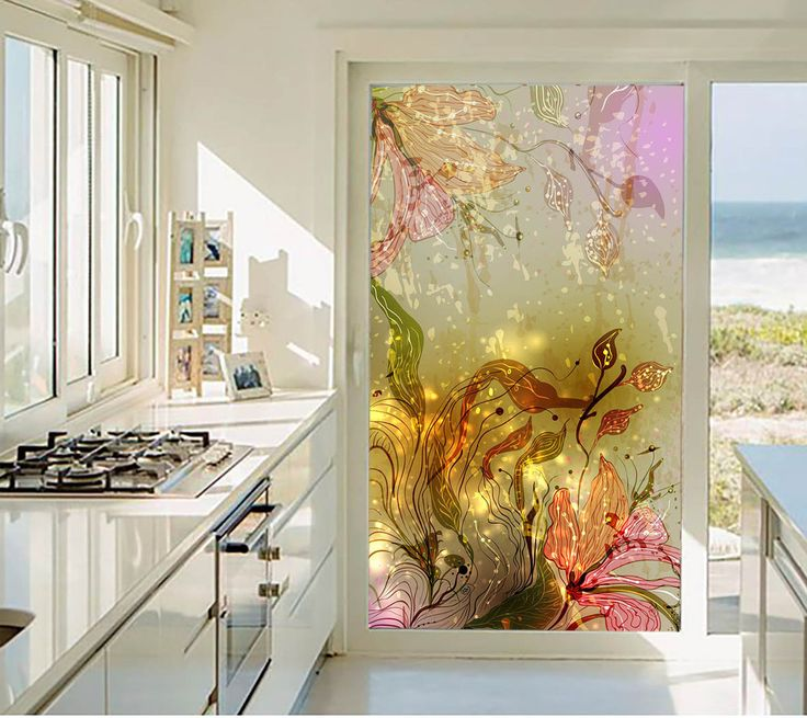Privacy stickers on the window wardrobe sliding glass door stickers fashion flowers decorative stained glass opaque film-in Decorative Films from Home & Garden on Aliexpress.com   Alibaba Group