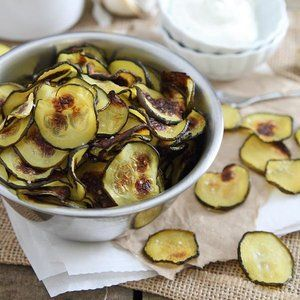 Salt and vinegar zucchini chips put a healthy spin on the classic flavor combo.