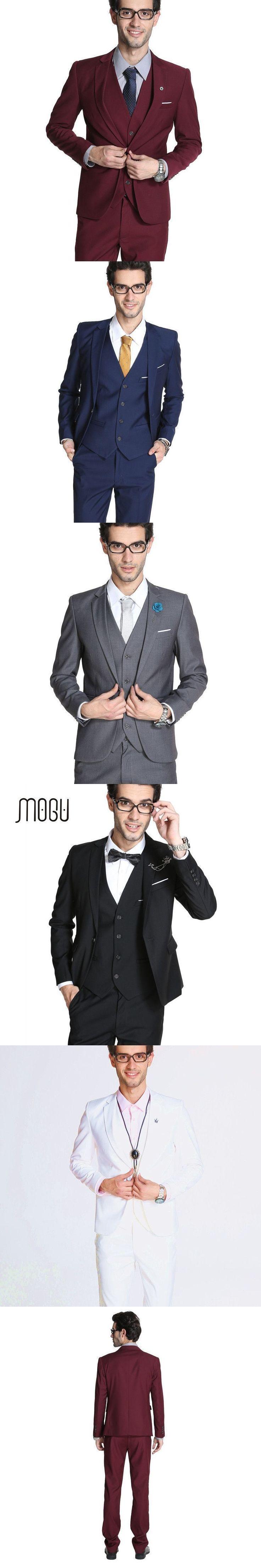 MOGU 2017 New Arrival Mens Slim Fit Suit 3 Piece Mens Suits Wedding Groom (Blazer+Vest+Pants) Large Size Wedding Suits For Men #menweddingsuits #menssuitswedding #slimfitsuits