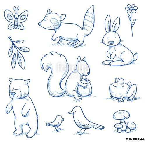 "Laden Sie den lizenzfreien Vektor ""Cute cartoon forest animals. Bear, squirrel, rabbit, frog, raccoon, birds. Hand drawn doodle vector illustration."" von danielabarreto zum günstigen Preis auf Fotolia.com herunter. Stöbern Sie in unserer Bilddatenbank und finden Sie schnell das perfekte Stockbild für Ihr Marketing-Projekt!"
