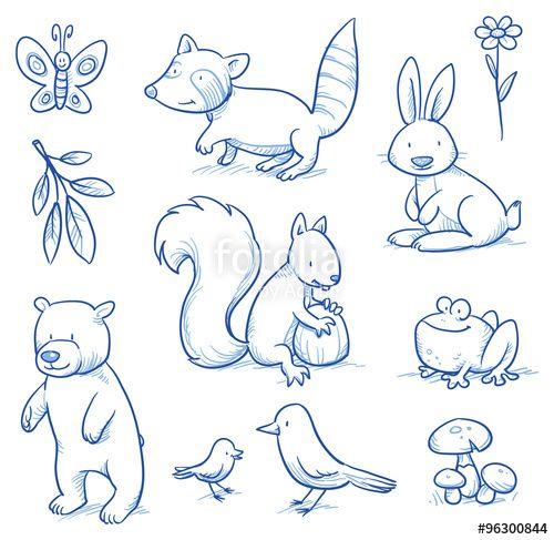 """Laden Sie den lizenzfreien Vektor """"Cute cartoon forest animals. Bear, squirrel, rabbit, frog, raccoon, birds. Hand drawn doodle vector illustration."""" von danielabarreto zum günstigen Preis auf Fotolia.com herunter. Stöbern Sie in unserer Bilddatenbank und finden Sie schnell das perfekte Stockbild für Ihr Marketing-Projekt!"""