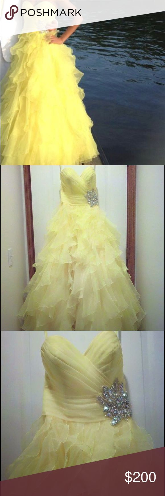 """Yellow Prom Dress Originally a size 6 but taken in to fit like a 4 and can be let back out! Worn once and in great condition! Strapless dress, fitted at the top with a flowy bottom. Picture of the dress on the model and on myself are shown! I am 5'5""""! Night Moves Dresses Prom"""
