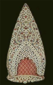 kokoshnik, traditional Russian head-wear, 17th c.