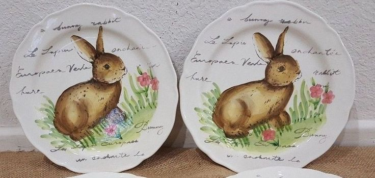 Maxcera Easter Postcard Bunny Rabbit Salad Plates Set of 2 #Maxcera