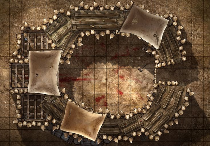 Fighting Pit, a printable and online battle map for Dungeons and Dragons / D&D, Pathfinder and other tabletop RPGs. Tags: arena, pit, orcs, mercenaries, gladiator, fantasy, bones, blood, print, roll20, fantasy grounds