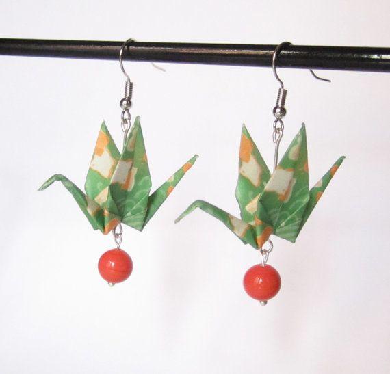 Boucles d'oreilles oiseaux en origami par Coquetteenpapier sur Etsy