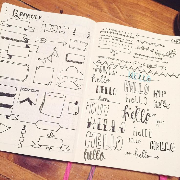 Last bullet journal post for he night. All the fun banners, separators, and…
