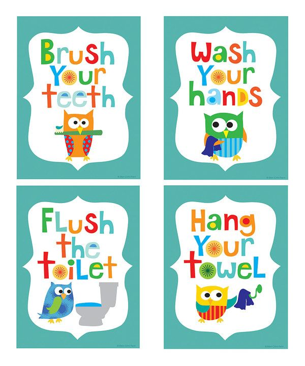 Teal Owl Bathroom Print Set By Ellen Crimi Trent