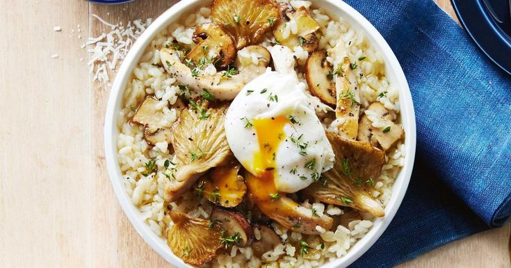 Perfectly poached eggs make this tasty chicken and mushroom risotto extra special.