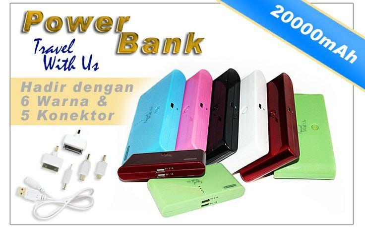 PowerBank TWU 20000mAh, Only Rp 289.000,- *not include shipping cost  - Design berbahan plastik abs (kuat & tahan panas) - Memiliki 2 output port USB; 1,0A untuk pengisian ulang handphone/ smartphone, BB, IPhone, Android, PSP, Mp3 Player dan port 2,1 A untuk pengisian ulang tablet/iPad. - Kabel adapter dengan 5 connector. - Dapat digunakan untuk pengisian ulang 2 device sekaligus. - 4 lampu LED, sebagai indikator kapasitas battery dan saat digunakan