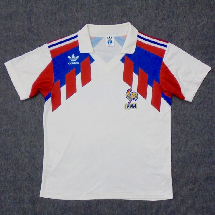 Vtg adidas france 1990 away football shirt jersey maillot trikot  8    Football   Football shirts, Football, Classic football shirts. 76f0966a6177