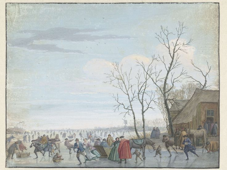 Winterlandschap met ijsvermaak, Louis Chalon, 1697 - 1741