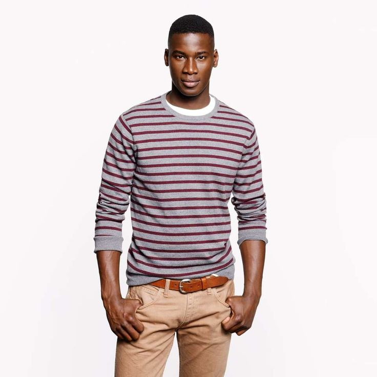 Cotton-cashmere sweater in heather zinc stripe on Wantering ...