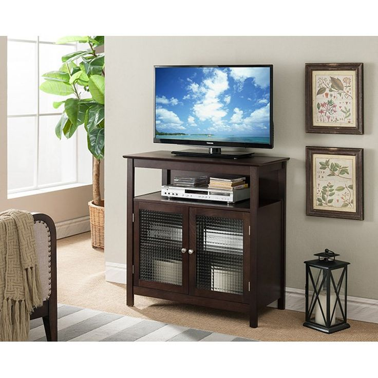 K&B Furniture 32 in. Walnut TV Stand with 2 Glass Doors and Shelf - E4822