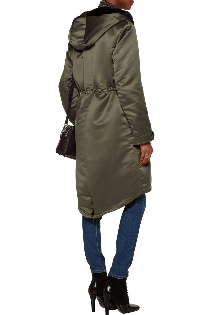Shop on-sale Ainea Faux fur-trimmed satin hooded coat. Browse other discount