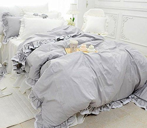アンティーク風グレーのコットン掛け布団カバー・ベッドスカート・枕カバー
