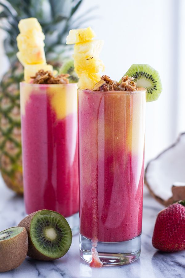 Tropical Swirled Fruit Smoothie | by halfbakedharvest #Smoothie #Raspberry #Banana #Mango #Coconut #Pineapple #Healthy