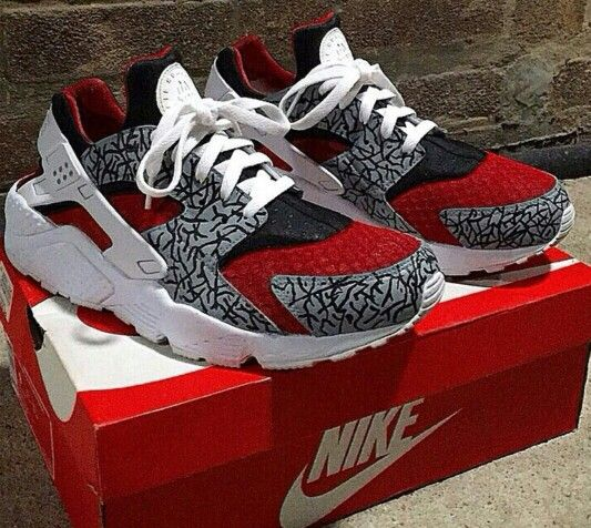8aa4616d1149 ... low price quick buy nike air huarache custom white black red mens shoes  trainers to enjoy