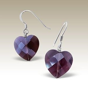 Purple Heart Silver Earring A$15