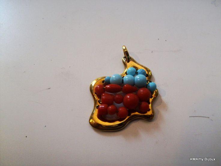 Ciondolo in Argento , Corallo e turchese di AMAmy Bijoux  su DaWanda.com