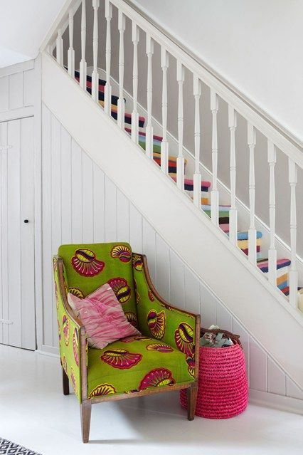 African print upholstered chair