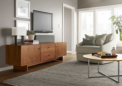 Hudson Media Cabinets With Wood Base