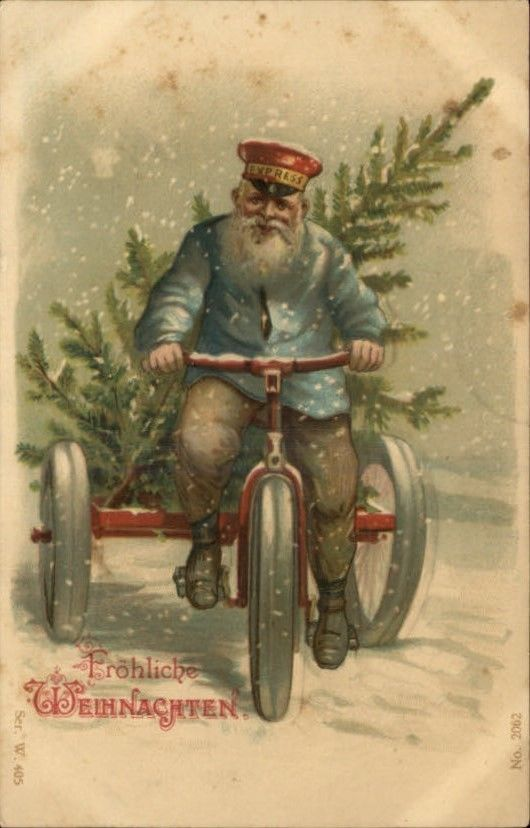 Antique German postcard Santa Claus making delivery on a tricycle. I'm not big on Santa stuff, but I LOVE the colors and vintage look of this!!!!!