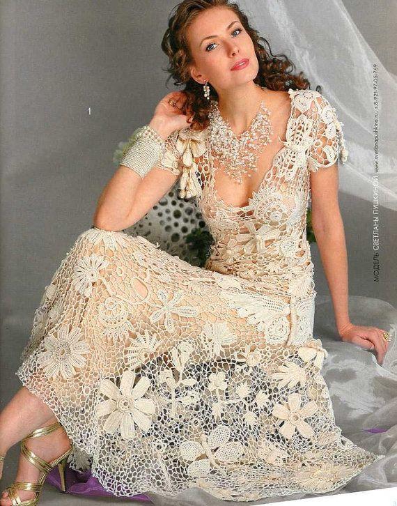 Wedding/cocktail Knitting CROCHET PATTERNS Book Irish lace dress collar  top skirt cardigan Fashion Magazine 555