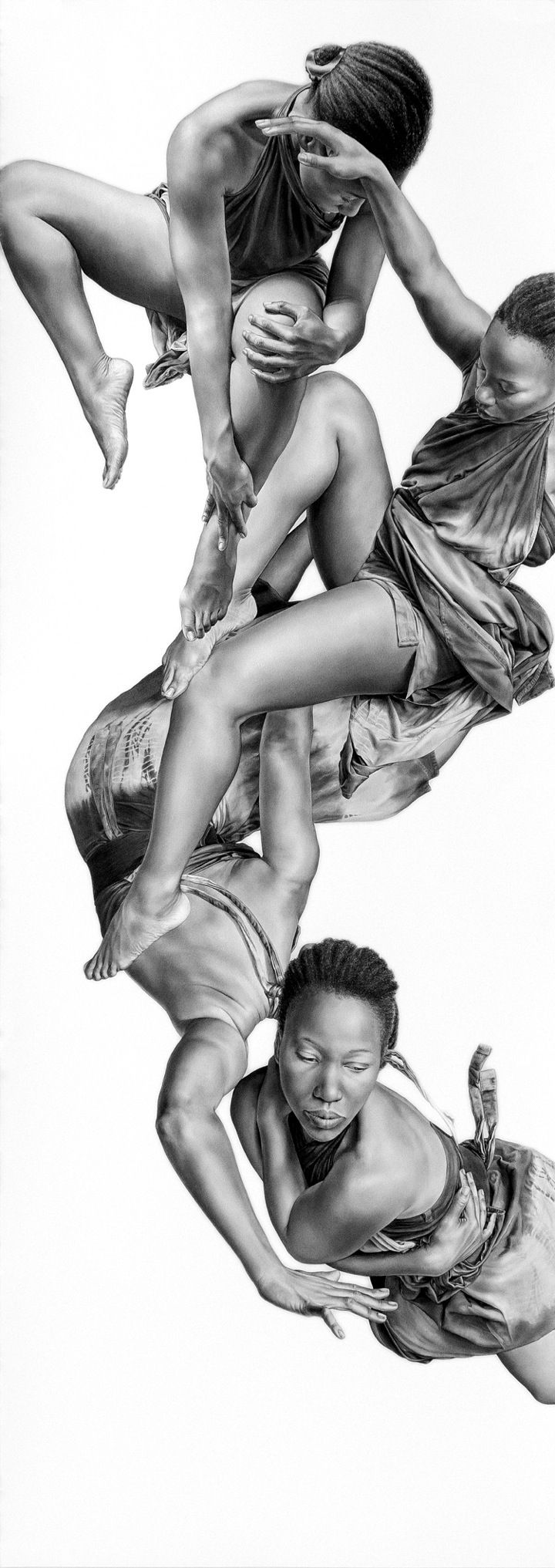 Leah Yerpe, charcoal and graphite {figurative realism action floating cornrows female african-american black woman hyperreal b+w drawing #2good2btrue} Falling !!