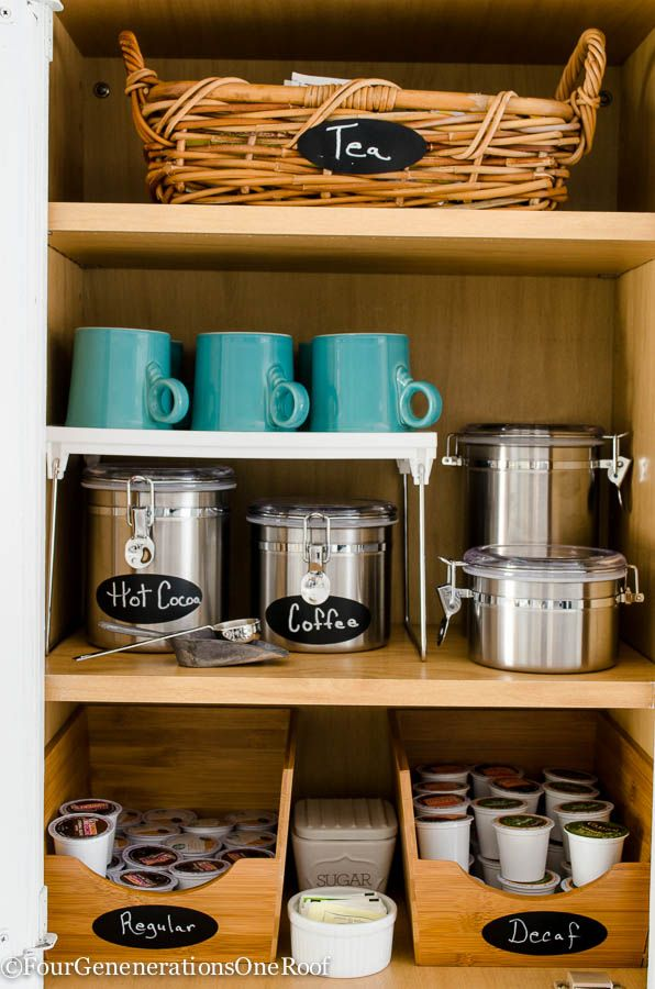 DIY Coffee Station / Get organized in the kitchen / Cabinet coffee station http://www.simplyvintagestyle.com/