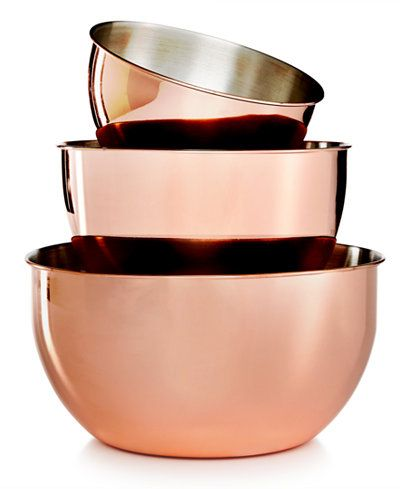 Martha Stewart Collection 3-Pc. Copper-Plated Mixing Bowl Set, Created for Macy's