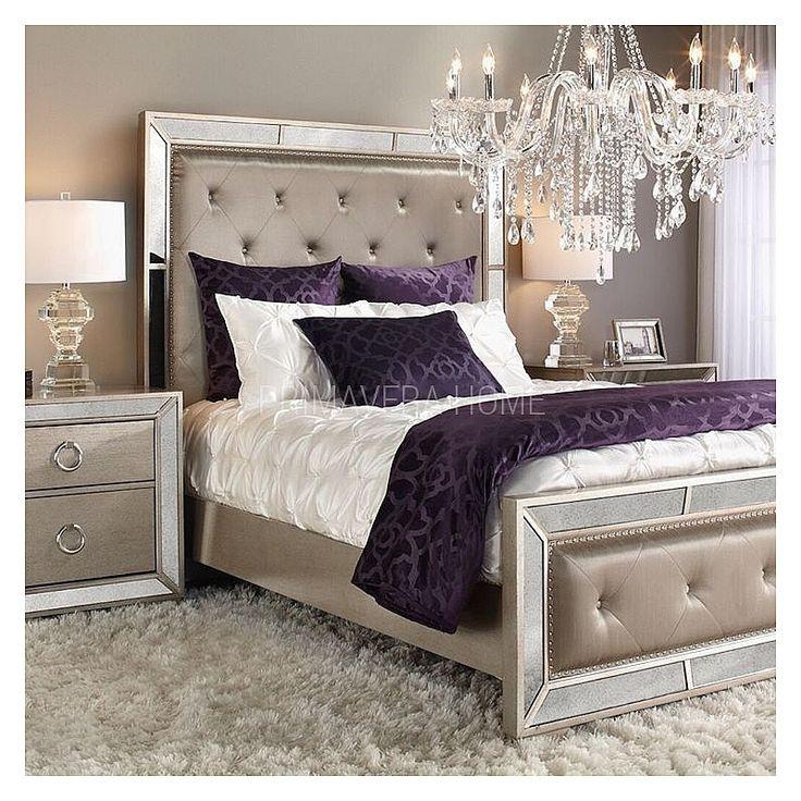 Łóżko tapicerowane lustrzane nowoczesne styl nowojorski glamour HOLLYWOOD