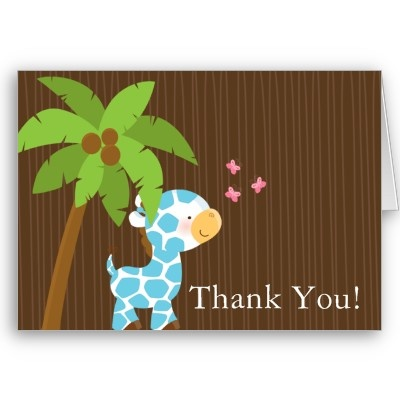 boy baby shower thank you card giraffe baby showers girl baby showers
