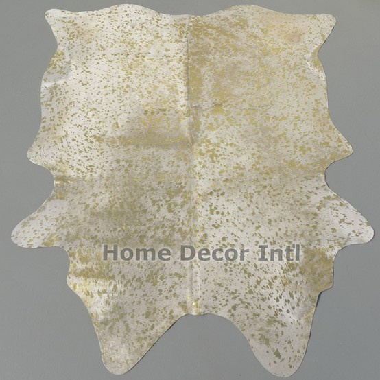 metallic gold on off white cowhide