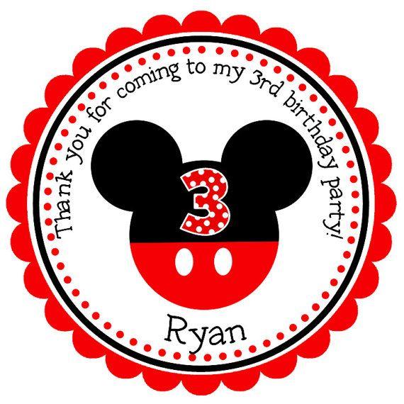 mickey mouse personalizada pegatinas etiquetas de regalo favores de partido etiquetas de. Black Bedroom Furniture Sets. Home Design Ideas