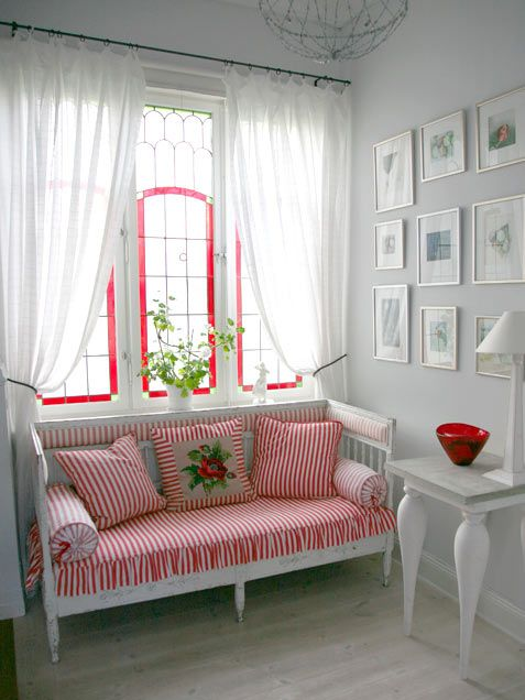 adorable white with red - love the settee