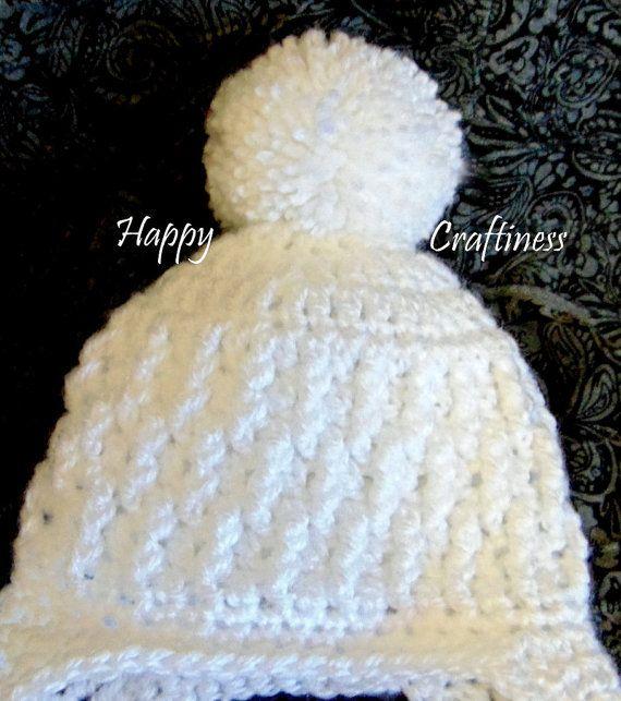 BABY EARFLAP HAT with large Pom Pom newborn 0-3 by HappyCraftiness