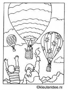 kleurplaat hete lucht ballonnen, kleuteridee.nl