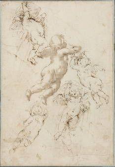Colonna, Angelo Michele: Cinco estudios de ángeles volando. Madrid (Prado)