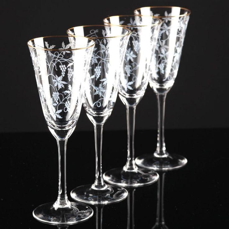 4 Vintage Sektgläser Spiegelau Rüdesheim Goldrand Weinlaub Ätzdekor Glas 50er F