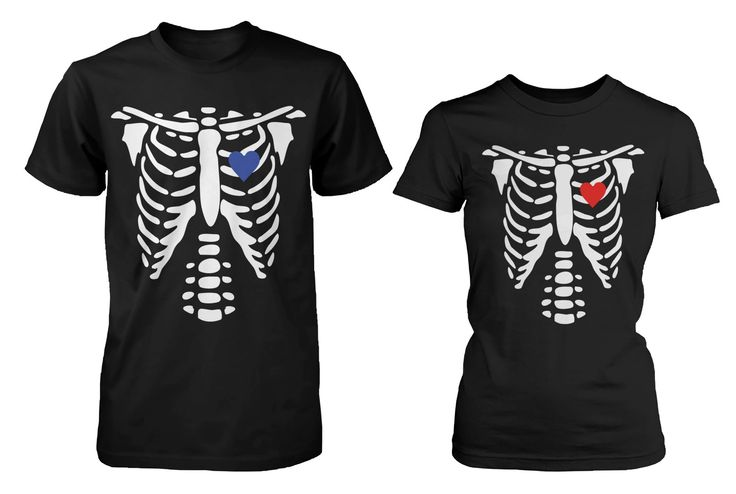 Skeleton X-Ray Hearts Matching T-Shirts for Couples Halloween Horror S