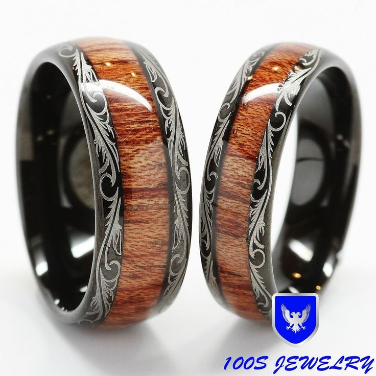 Men & Women's Tungsten Carbide Wedding Band Wood Inlay Comfort Fit Ring Set in Jewelry & Watches, Jewelry & Watches | eBay