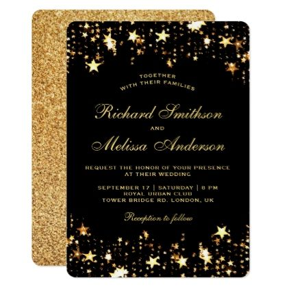 Glamorous Black Gold Faux Glitter Stars Wedding Invitation Various