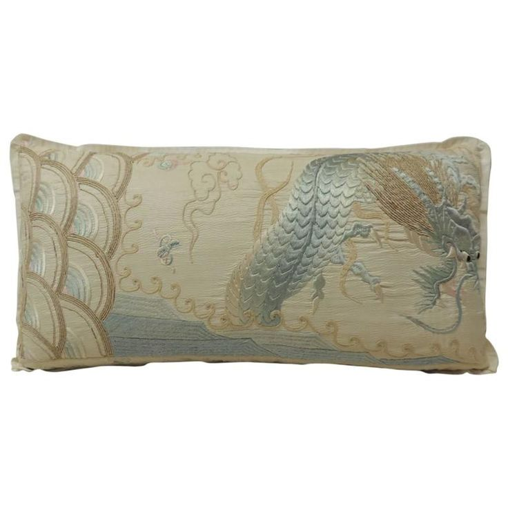 Japanese Intricate Asian Embroidery Silk Dragon Deco Bolster Pillow | From a unique collection of antique and modern pillows and throws at https://www.1stdibs.com/furniture/more-furniture-collectibles/pillows-throws/