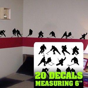 $17.95 Hockey Wall Art Hockey Players Room Decor Hockey Wall Decal Silhouettes Player | eBay