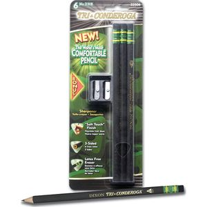 Ticonderoga is the world's best pencil, and Tri-Conderoga is the world's best AND most comfortable. Its triangular shape and velvety soft-touch finish make this sleek, black No. 2 pencil No. 1! #dixonticonderoga