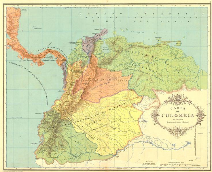 Carta de las primeras divisiones coloniales de Colombia, Ecuador y Venezuela. Carta II del Atlas geográfico e histórico de la República de Colombia, 1890.