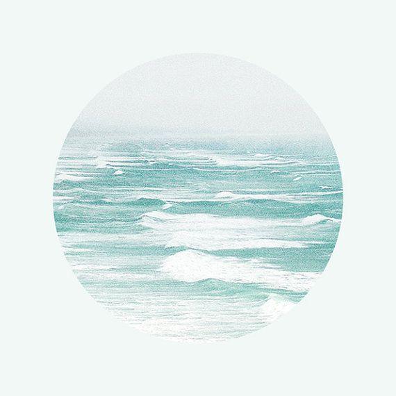 Ocean Photography, Ocean Print, Nautical Art, Circle Photography, Aqua Blue Decor, Turquoise Blue / Sea Storm