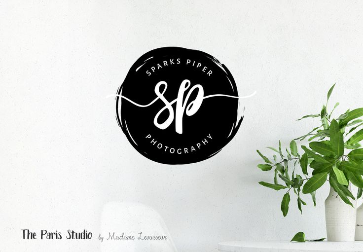 Brush Script Badge Monogram Logo Design - photography branding, boutique logo, website logo, blog logo, creative business branding or small business logo.